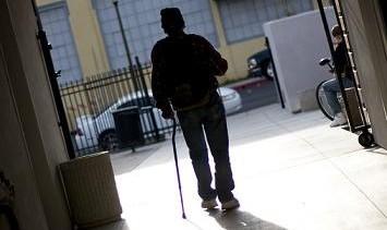 homeless man at shelter
